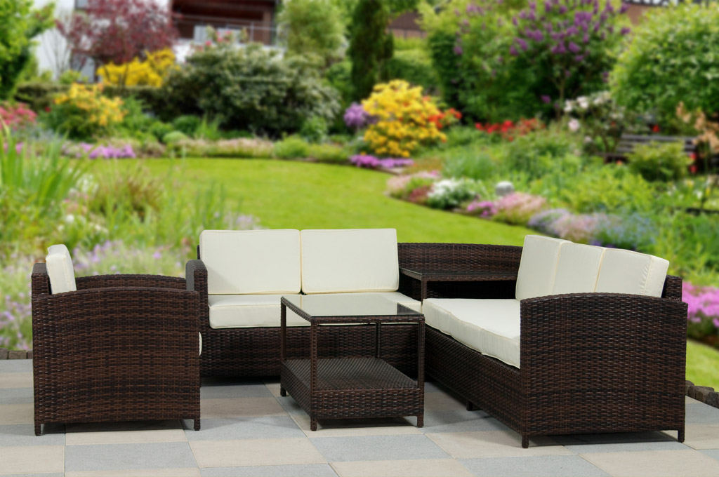 essella polyrattan essgruppe rattan sitzgruppe gartenm bel eckbank eck garnitur ebay. Black Bedroom Furniture Sets. Home Design Ideas