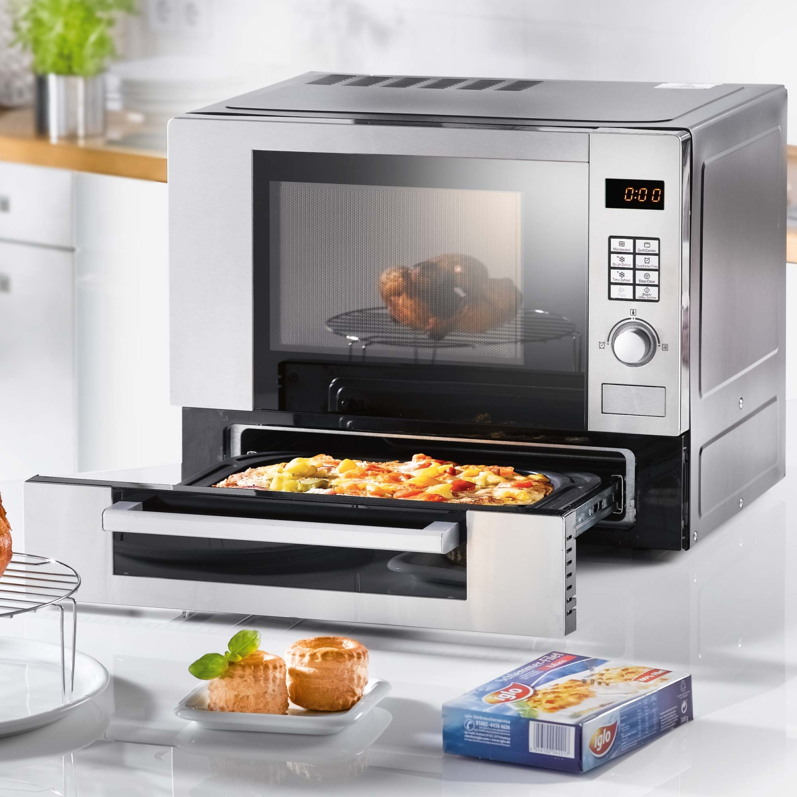 edelstahl mikrowelle mini backofen pizzaofen grill automatik ofen digital neu ebay. Black Bedroom Furniture Sets. Home Design Ideas
