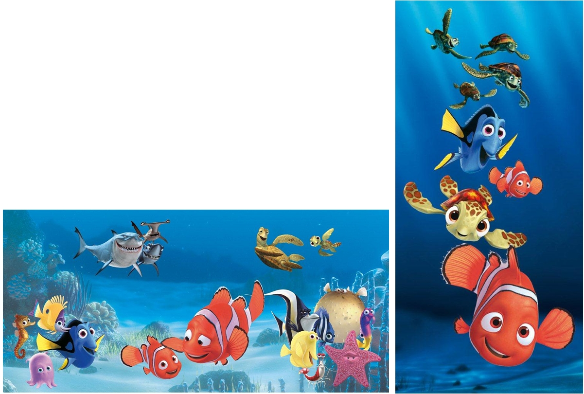 disney findet nemo 2 bilder leinwand auf keilrahmen kinderzimmer bild kunstdruck. Black Bedroom Furniture Sets. Home Design Ideas